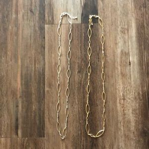 Jewelry - Long asymmetrical gold and silver necklaces